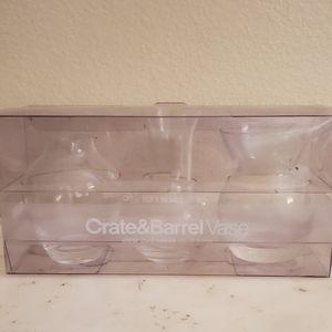 NWOT Crate & Barrel Set of 3 Clear Bud Vases